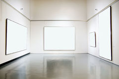 Art gallery exhibition hall. With big white board Stock Images