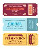 Art Gallery Exhibition Ticket, Cruise Coupon Set. Art gallery exhibition ticket, cruise coupon, presentation party tonight pass admitons with control code set vector illustration