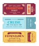 Art Gallery Exhibition Ticket, ensemble de bon de croisière Photos stock