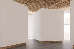 Art gallery gray floor, wooden ceiling, side Royalty Free Stock Photography
