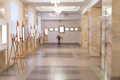 Art gallery hall. Simple art gallery hall with cut out picture frames Stock Photography