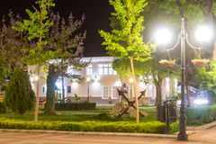 Art gallery in the heart of the old night of Pomorie in Bulgaria stock images