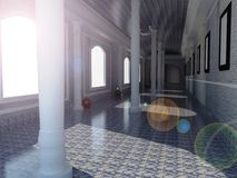 Art gallery. A indoor view of art gallery and marble flooring and pillar and sunlight slanting rays Stock Photo