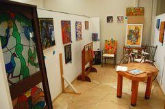 Art gallery interior Stock Images