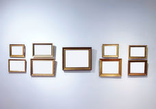 Art gallery interior with empty frames Royalty Free Stock Image