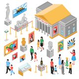 Art Gallery Isometric Icons Set. With building outside, pictures and sculptures, excursion for visitors isolated vector illustration Royalty Free Stock Images
