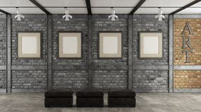 Art gallery in a loft Royalty Free Stock Image