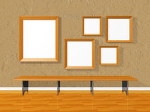 Art Gallery med tomma bildramar Arkivbilder