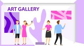 Art Gallery Museum Exhibition Visitor-Groep Tentoonstellingsbezoekers die moderne abstracte schilderijen bekijken bij eigentijds  stock illustratie