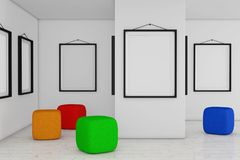 Art Gallery Museum with White Blank Placard Mockup Frames and Co. Lored Armchair Cube Bag extreme closeup. 3d Rendering Stock Photo