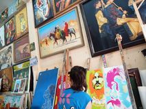 Art Gallery - Oil Paint. Artist at work in a Art Gallery Royalty Free Illustration