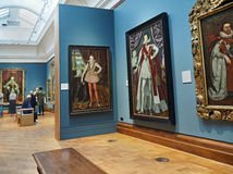 Art gallery. With oil paintings depicting the English nobility Stock Images
