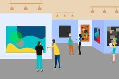 Art gallery. People regarding creative artworks or exhibits in museum. Vector illustration royalty free illustration