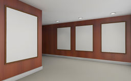 Art Gallery Perspective and Picture Frame wall wood Stock Image