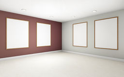 Art Gallery perspective two  point and Picture Frame  color Rad Royalty Free Stock Images