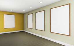 Art Gallery perspective two  point  and Picture Frame  color  yellow Stock Photos