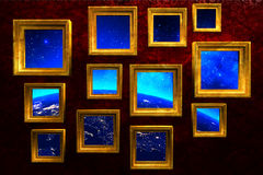 Art gallery on red grunge wall background Royalty Free Stock Photography