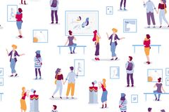 Art gallery seamless pattern with visitors looking at paintings vector flat illustration. People at the exhibition vector illustration