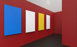 Art Gallery Studio and picture frame contemporary Red Wall. Concept Arts Royalty Free Stock Photo