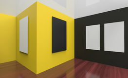 Art Gallery Studio and picture frame Wall black and Yellow Stock Photos