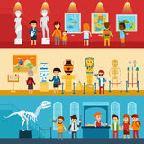 Art gallery visitors and antique museum of paleontology flat banners abstract isolated vector illustration. People look. At the exhibition with guide, excursion Royalty Free Stock Photography