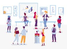 Art gallery with visitors looking at paintings vector flat illustration. People at the exhibition cartoon characters in. Modern art style. Men and women royalty free illustration