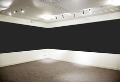 Art gallery. Wide black panel. Stock Photo