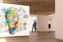 Art gallery wooden floor, ceiling, people, bulb Stock Image