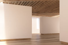 Art gallery wooden floor, ceiling, side Stock Photography