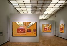 Art gallery7. All pictures on wall just filtered whole this photo Royalty Free Stock Photos