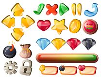 Art game interface elements for hit points. Vector illustration Royalty Free Stock Photo