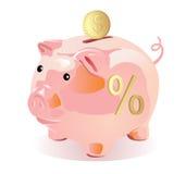 Art-Geldkasten der Piggy Querneigung Lizenzfreie Stockbilder