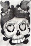 Art girl skull tattoo. Royalty Free Stock Photos