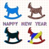 Art Goats. New year set of goats. Vector illustration Stock Photos