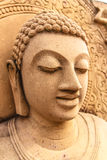 Art of Buddha Image. Art of Golden Buddha Image. It made from sand and cray Royalty Free Stock Photo