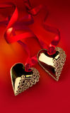 Art Golden Heart Stock Images