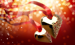 Art Golden Heart royalty free stock image