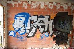 Art And Graffiti On uma construção foto de stock