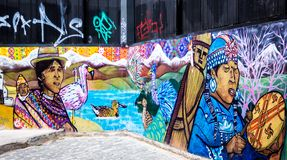 Art graffiti in Valparaiso, Chile. VALPARAISO, CHILE - OCTOBER 27, 2016: Street art graffiti in Concepcion and Alegre districts. Valparaiso is famous for its stock image