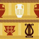 Art grec - vases, lyre, méandre Configuration sans joint Photographie stock libre de droits