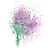 Art green, purple watercolor ink paint blob watercolour splash c. Olorful stain isolated on white background texture stock image
