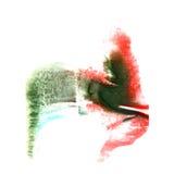Art Green, rojo, gota azul de la pintura de la tinta de la acuarela Imagen de archivo libre de regalías