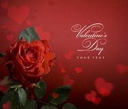 Art Greeting Card With Red Roses And Heart Royalty Free Stock Photography