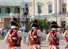 Art group Guards and the brass band Vivat, Russia!. Pavlovsk. Russia. Stock Photos