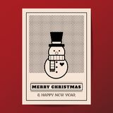 Art-Grußkarte des Vektors der frohen Weihnachten minimale Lizenzfreies Stockfoto