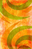 Art grunge background with curved spikes. Art grunge background in orange and green tones decorated with curved spikes Royalty Free Stock Images