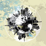 Art grunge background with globe urban Stock Image