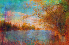 Art grunge landscape showing lake and the tree Royalty Free Stock Photo