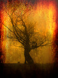 Art grunge landscape showing silhouette of lonely tree Royalty Free Stock Images