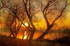 Art grunge landscape - sunrise over the river Stock Image